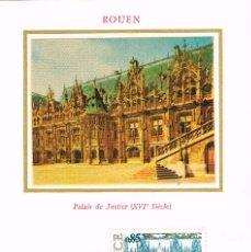 Sellos: FRANCIA IVERT 1806, PALACIO DE JUSTICIA DE ROUEN (SIGLO XVI), TARJETA MAXIMA DE 25-1-1975. Lote 100984771