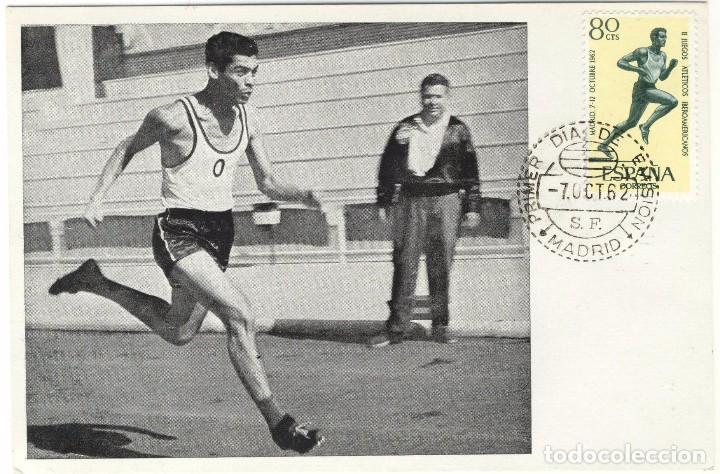 TARJETA A.F.I. II JUEGOS ATLETICOS IBEROAMERICANOS MADRID 7 OCTUBRE DE 1962 SELLO PRIMER DIA EMISIÓN (Sellos - Extranjero - Tarjetas Máximas)