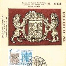 Sellos: 1984 MATASELLOS SOBRE TARJETA BURGOS EXFIBUR MC CENTENARIO CIUDAD. Lote 103677867