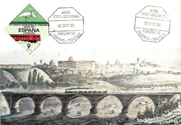 1985 MATASELLOS SOBRE TARJETA MADRID-TOLEDO TREN AMBULANTE EXFILNA (Sellos - España - Tarjetas)