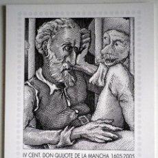 Sellos: CARTEL IV CENTENARIO DON QUIJOTE DE LA MANCHA 30 X 21 CM.. Lote 104088923
