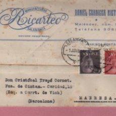 Sellos: TARJETA COMERCIAL DE DANIEL CARNICER NIETO MANUFACTURAS RICARTEO SALAMANCA 1965. Lote 105159479