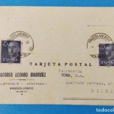 Sellos: TARJETA COMERCIAL DE PRADOLUENGO (BURGOS) A FERRETERIA YOHN DE BILBAO - AÑO 1957 -... R-8371. Lote 112152819