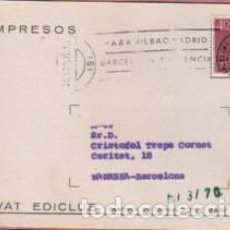 Sellos: TARJETA COMERCIAL DE LA EDITORIAL SALVAT EDICLUB - DIRIGIDA A MANRESA 1970. Lote 115015439
