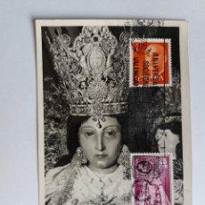 Francobolli: TARJETA CON SELLOS - 1975 VALENCIA - NUESTRA SEÑORA DE LOS DESAMPARADOS - ANIVERCARIO SOCIEDAD. Lote 122102675