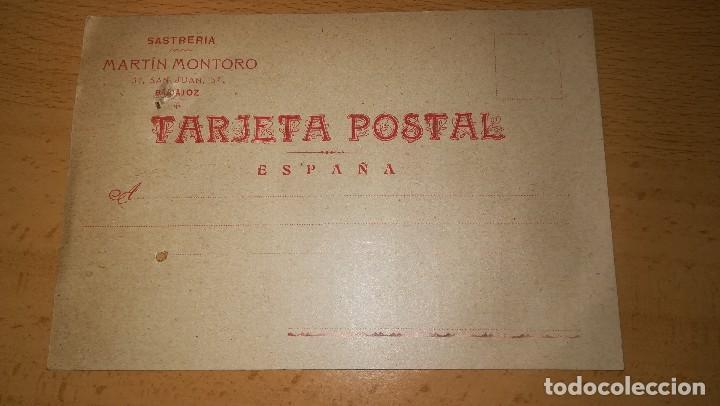 ANTIGUA TARJETA POSTAL SASTRERIA MARTIN MONTORO, BADAJOZ, AÑO 1918 (Sellos - España - Tarjetas)