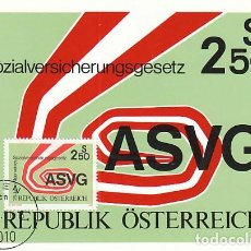 Sellos: AUSTRIA IVERT 1493, 25 ANIVERSARIO DE LA LEY DE SEGUROS SOCIALES, TARJETA MÁXIMA 19-1-1981. Lote 127933655