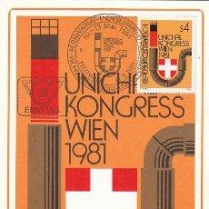 Sellos: AUSTRIA IVERT 1498, CONGRESO DE LA UNIÓN INTERNACIONAL DE CALEFACCIÓN, TARJETA MÁXIMA 11-5-1981. Lote 127933751