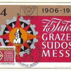 Sellos: AUSTRIA IVERT 1511, 75 ANIVERSARIO DE LA FERIA DE GRAZ, TARJETA MÁXIMA DE 25-9-1981. Lote 127933983