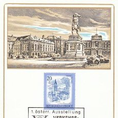 Sellos: AUSTRIA, VIENA, PALACIO DE LAS FERIAS, MATASELLO DE 22-10-1982 EN TARJETA. Lote 127934447
