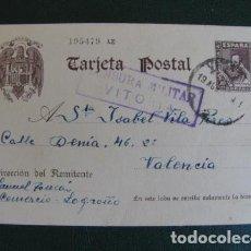 Sellos: TARJETA POSTAL CERVANTES. CENSURA MILITAR 1939. VITORIA VALENCIA. Lote 128957803
