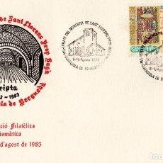 Sellos: SOBRE Y TARJETA 1º EXP. FILATÈLICA I NUMISMÀTICA 1983. Lote 129076731
