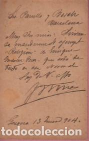 Sellos: tarjeta postal comercial - imprenta y libreria P. TORRES DE GERONA - GIRONA 1904 - Foto 2 - 135129170