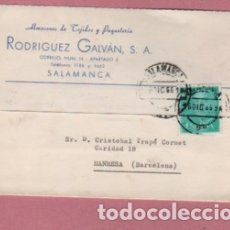 Sellos: TARJETA COMERCIAL DE RODRIGUEZ GALVAN SA DE SALAMANCA TEJIDOS - TEXTIL 1966 DIRIGIDA A MANRESA. Lote 135225630