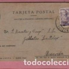 Sellos: TARJETA POSTAL COMERCIAL - DESDE ABADIANO A GALLETAS REVERTER DE MANRESA MAYO 1943. Lote 135825034