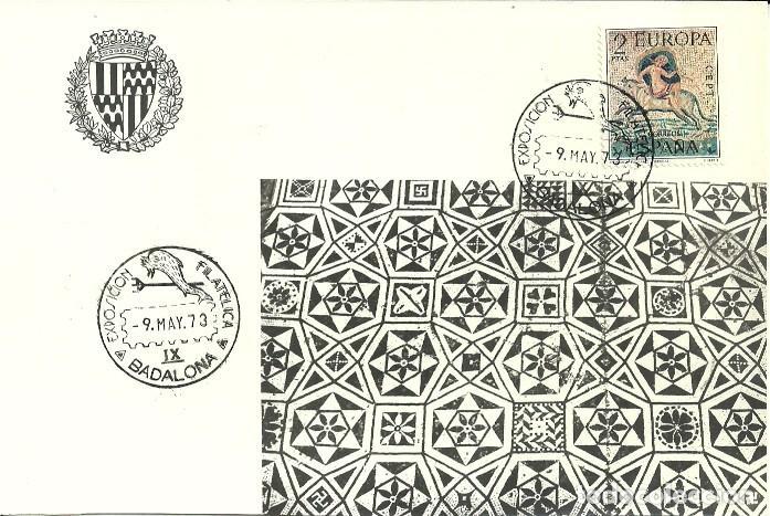 TARJETA IX EXPOSICIÓN FILATELICA DE BADALONA - 1973 (Sellos - España - Tarjetas)