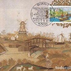 Sellos: ALEMANIA IVERT 1056, 2º CENTENARIO DEL CANAL DE SCHLESWEIG-HOLTEINS, MÁXIMA DE 21-8-1984. Lote 142174614
