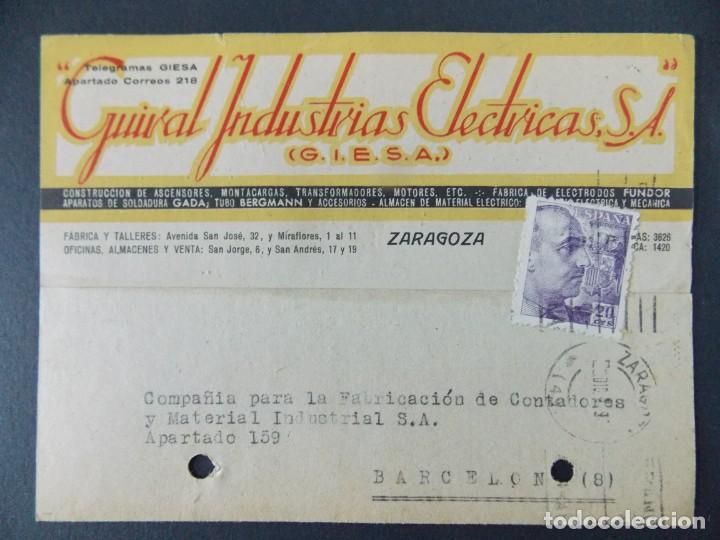 TARJETA COMERCIAL - GUIRAL INDUSTRIAS ELECTRICAS S.A. ( GIESA ) ZARAGOZA , CIRCULADA 1942 ..A617 (Sellos - España - Tarjetas)