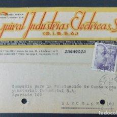 Sellos: TARJETA COMERCIAL - GUIRAL INDUSTRIAS ELECTRICAS S.A. ( GIESA ) ZARAGOZA , CIRCULADA 1942 ..A617. Lote 143072422