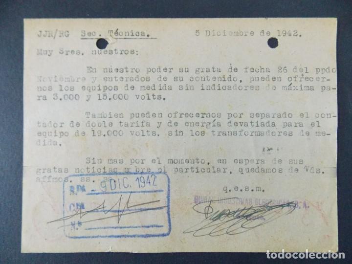 Sellos: TARJETA COMERCIAL - GUIRAL INDUSTRIAS ELECTRICAS S.A. ( GIESA ) ZARAGOZA , CIRCULADA 1942 ..A617 - Foto 2 - 143072422
