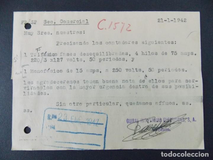 Sellos: TARJETA COMERCIAL - GUIRAL INDUSTRIAS ELECTRICAS S.A. ( GIESA ) ZARAGOZA , CIRCULADA 1942 ..A619 - Foto 2 - 143072766