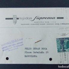 Sellos: TARJETA COMERCIAL , TEJIDOS SUPREMA , MALAGA , CIRCULADA EN 1962 , MARCA SUMINISTROS HOTELEROS..A626. Lote 143074758