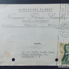 Sellos: TARJETA COMERCIAL , ALMACENES FLORES , NICANOR FLORES SANCHEZ , TALAVERA DE LA REINA , 1962 ..A630. Lote 143075354