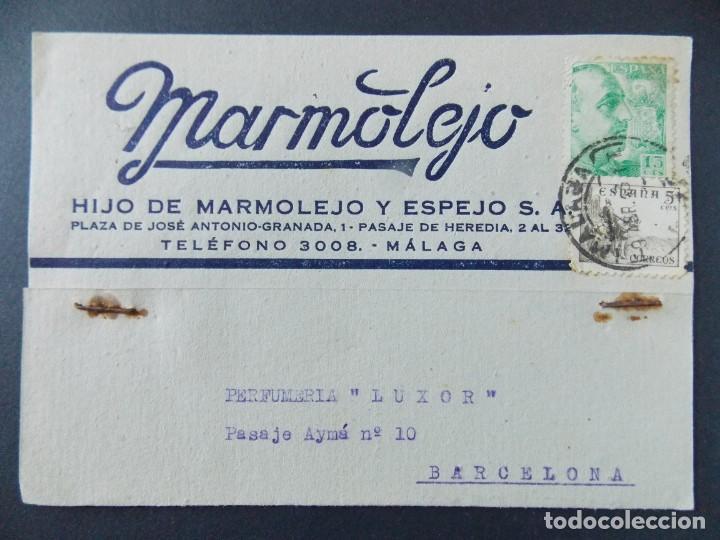 TARJETA COMERCIAL , MARMOLEJO , HIJO DE MARMOLEJO Y ESPEJO , MALAGA , CIRCULADA 1943 ..A631 (Sellos - España - Tarjetas)