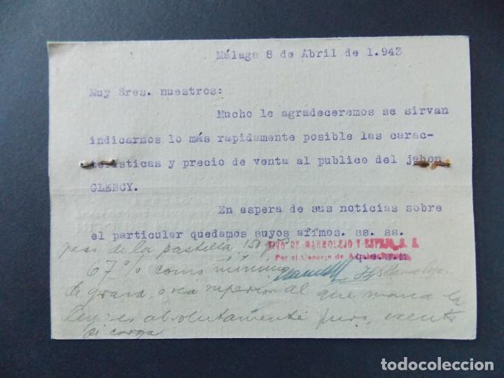 Sellos: TARJETA COMERCIAL , MARMOLEJO , HIJO DE MARMOLEJO Y ESPEJO , MALAGA , CIRCULADA 1943 ..A631 - Foto 2 - 143075562