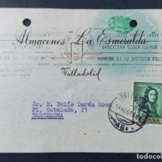 Sellos: TARJETA COMERCIAL, ALMACENES DE TEJIDOS LA ESMERALDA , VALADOLID , CIRCULADA 1962 ..A634. Lote 143077426
