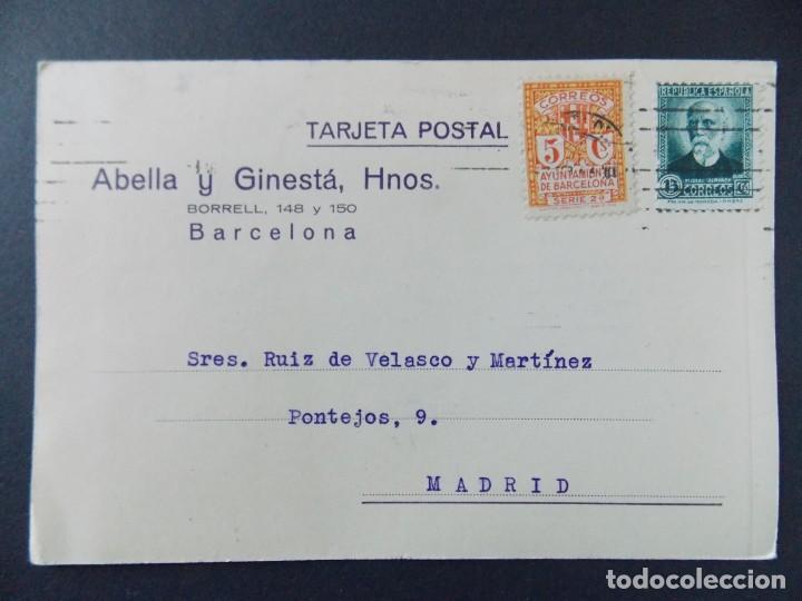 TARJETA COMERCIAL, ABELLA Y GINESTA HERMANOS , BARCELONA , CIRCULADA 1933 ..A638 (Sellos - España - Tarjetas)