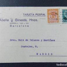Sellos: TARJETA COMERCIAL, ABELLA Y GINESTA HERMANOS , BARCELONA , CIRCULADA 1933 ..A638. Lote 143078346