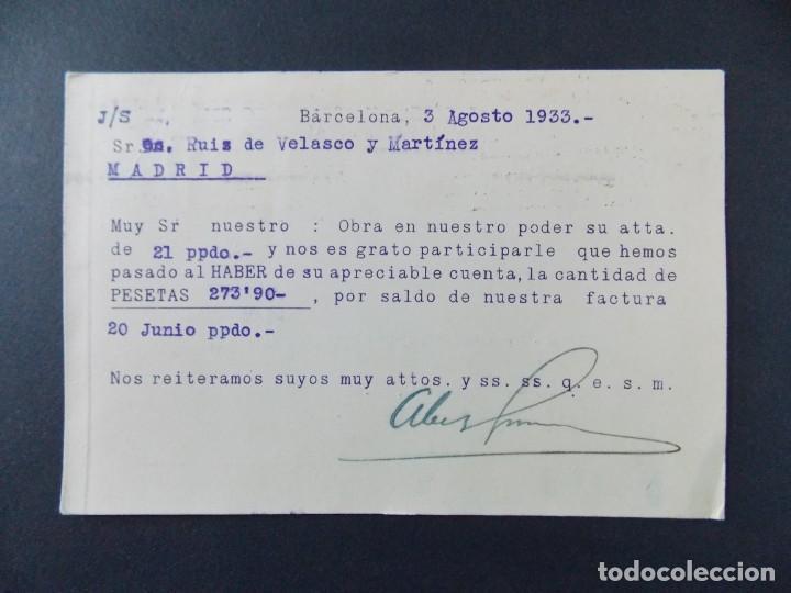 Sellos: TARJETA COMERCIAL, ABELLA Y GINESTA HERMANOS , BARCELONA , CIRCULADA 1933 ..A638 - Foto 2 - 143078346
