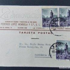 Sellos: TARJETA COMERCIAL, LA INNOVACION TEJIDOS , LA CORUÑA , CIRCULADA 1962 ..A640. Lote 143078934