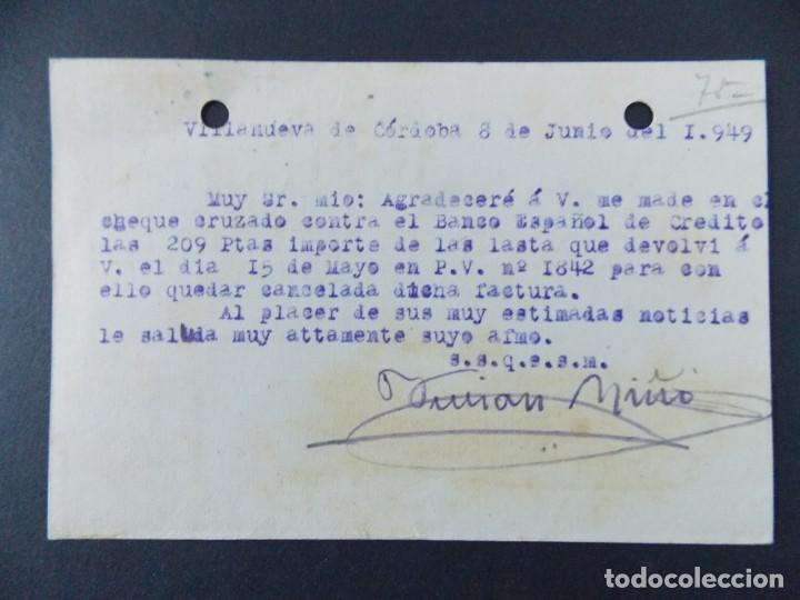 Sellos: TARJETA COMERCIAL, COLONIALES, LICORES , CASA NIÑO , VILLANUEVA DE CORDOBA , CIRCULADA 1949 ..A646 - Foto 2 - 143081214