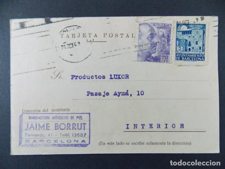 TARJETA COMERCIAL, JAIME BORRUT , ARTICULOS DE PIEL , BARCELONA , CIRCULADA 1943 ..A647 (Sellos - España - Tarjetas)