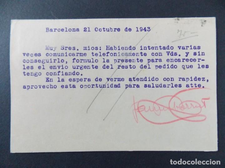 Sellos: TARJETA COMERCIAL, JAIME BORRUT , ARTICULOS DE PIEL , BARCELONA , CIRCULADA 1943 ..A647 - Foto 2 - 143081586
