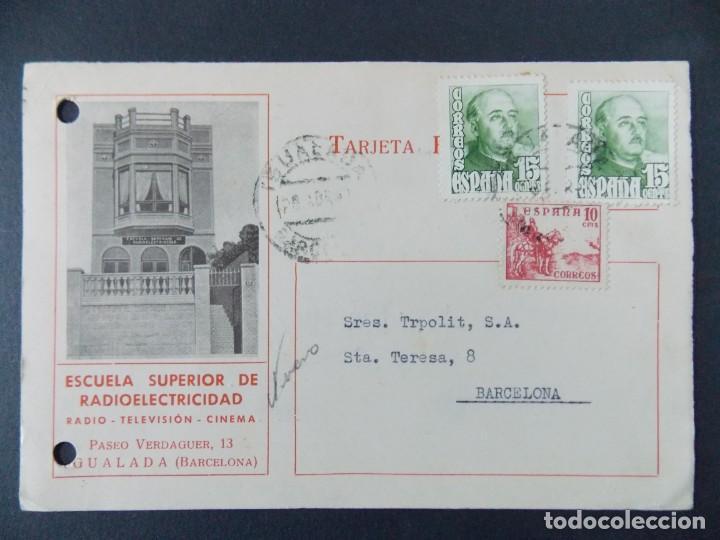 TARJETA COMERCIAL , ESCUELA SUPERIOR RADIOELECTRICIDAD , IGUALADA (BARCELONA) ,CIRCULADA 1951 .A656 (Sellos - España - Tarjetas)