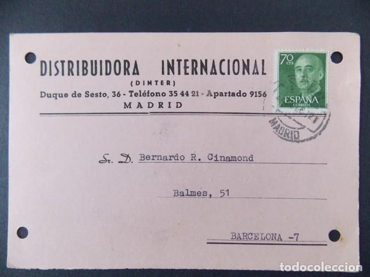 TARJETA COMERCIAL , DISTRIBUIDORA INTERNACIONAL , DINTER , MADRID , CIRCULADA 1961 ..A658 (Sellos - España - Tarjetas)