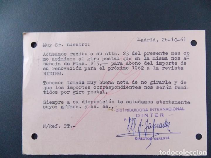 Sellos: TARJETA COMERCIAL , DISTRIBUIDORA INTERNACIONAL , DINTER , MADRID , CIRCULADA 1961 ..A658 - Foto 2 - 143084758