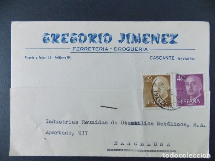 TARJETA COMERCIAL , DROGUERIA GREGORIO JIMENEZ , CASCANTE ( NAVARRA ) , CIRCULADA 1964 ..A662 (Sellos - España - Tarjetas)