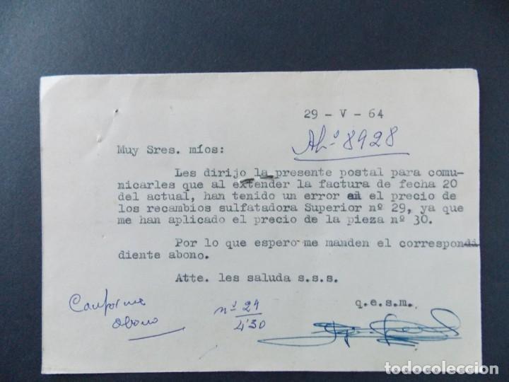Sellos: TARJETA COMERCIAL , DROGUERIA GREGORIO JIMENEZ , CASCANTE ( NAVARRA ) , CIRCULADA 1964 ..A662 - Foto 2 - 149914072