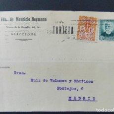 Sellos: TARJETA COMERCIAL , VIUDA DE MAURICIO HEYMANN , BARCELONA , CIRCULADA 1933 ..A663. Lote 143086226