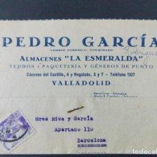 Sellos: TARJETA COMERCIAL , ALMACENES LA ESMERALDA , TEJIDOS , VALLADOLID , CIRCULADA 1939 ..A665. Lote 143087090