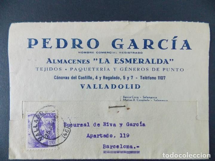 TARJETA COMERCIAL , ALMACENES LA ESMERALDA , TEJIDOS , VALLADOLID , CIRCULADA 1939 ..A666 (Sellos - España - Tarjetas)