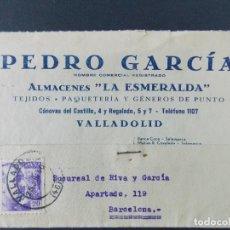 Sellos: TARJETA COMERCIAL , ALMACENES LA ESMERALDA , TEJIDOS , VALLADOLID , CIRCULADA 1939 ..A666. Lote 143087138