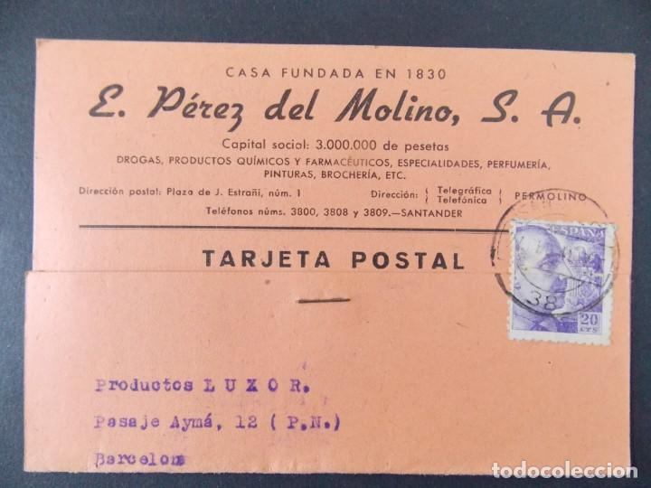 TARJETA COMERCIAL , DROGUERIA E. PEREZ DEL MOLINO S.A. , SANTANDER , CIRCULADA 1941 ..A668 (Sellos - España - Tarjetas)