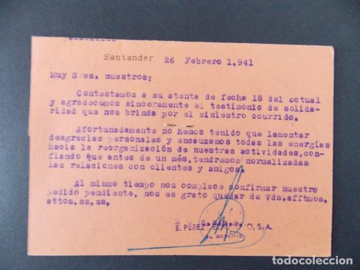 Sellos: TARJETA COMERCIAL , DROGUERIA E. PEREZ DEL MOLINO S.A. , SANTANDER , CIRCULADA 1941 ..A668 - Foto 2 - 143087586
