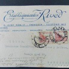 Sellos: TARJETA COMERCIAL , FARMACIA PERFUMERIA , ESTABLECIMIENTOS RIVED , ZARAGOZA , CIRCULADA 1942 ..A669. Lote 143087766