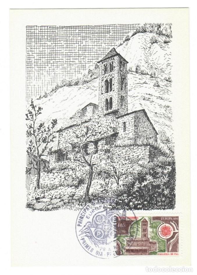 ANDORRA 1978 - PRIMER DÍA - ESGLESIA DE PAL - ASOCIACIÓN FILATÉLICA ANDORRANA - 1000 EJEMPLARES (Sellos - Extranjero - Tarjetas Máximas)